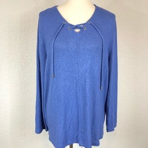 Chico's Blue Textured Lace Up Neck Sweater Tunic 3